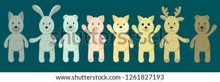 stock-vector-vector-set-of-cute-toy-animals-polar-bear-brown-bear-piglet-fox-hare-rabbit-dog-wolf-cat