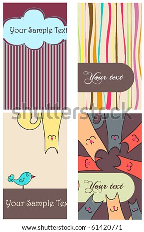 Vector set of cute vertical cards