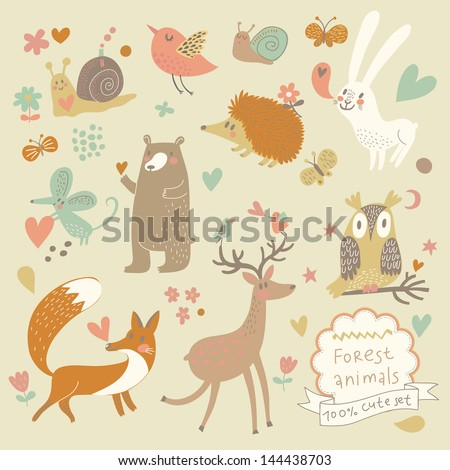 vector set of cute wild animals