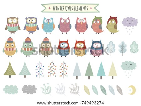 Vector set of cute winter elements - owls, trees, brunches, clouds and leaves. Christmas clipart collection