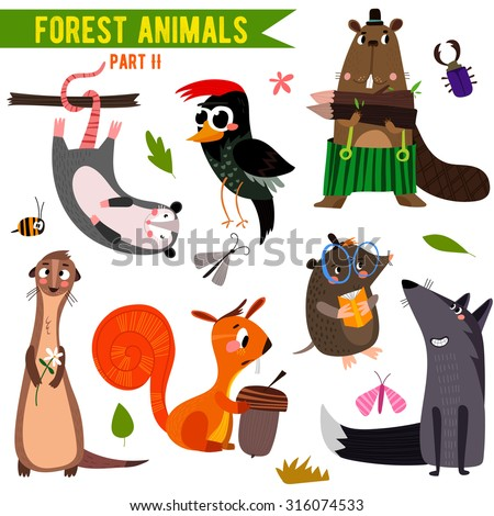 vector set of cute woodland and