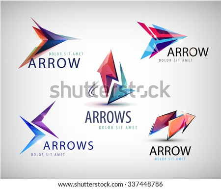 Vector set of 3d colorful arrow logos, icons isolated. 2 arrows, faceted arrow, modern arrow logo