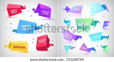 Vector set of 3d origami faceted bubbles, banners, tags, text spaces.  #723208789