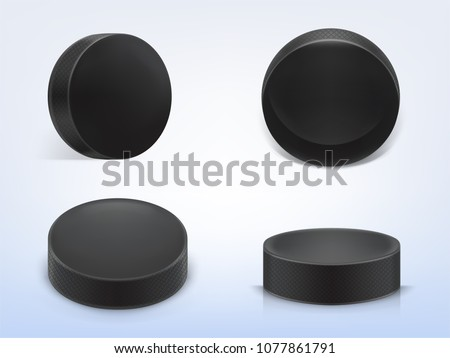 Vector set of 3d realistic black rubber pucks for play ice hockey isolated on light background. Sport equipment, hard round disk, inventory for winter team game on skating rink