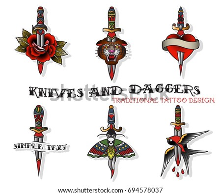 Vector Set of Daggers and Knives Traditional Tattoo Designs