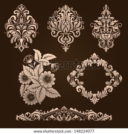 Vector set of damask ornamental elements Elegant floral abstract elements for design Perfect for invitations cards etc