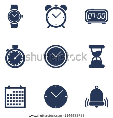 Vector Set of Dark Blue Silhouette Time Icons. Schedule and Watch Symbols