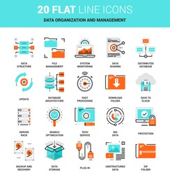 Vector set of data organization and management flat line web icons. Each icon with adjustable strokes neatly designed on pixel perfect 64X64 size grid. Fully editable and easy to use