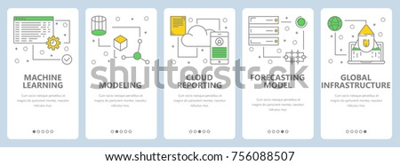 Vector set of data science concept banners. Machine learning, Modeling, Cloud reporting, Forecasting model, Global infrastructure website templates. Modern thin line flat symbols, icons for web, print