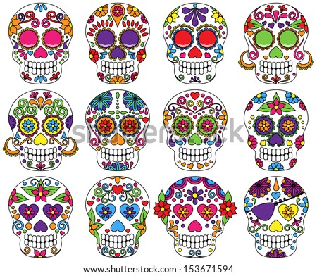 vector set of day of the dead