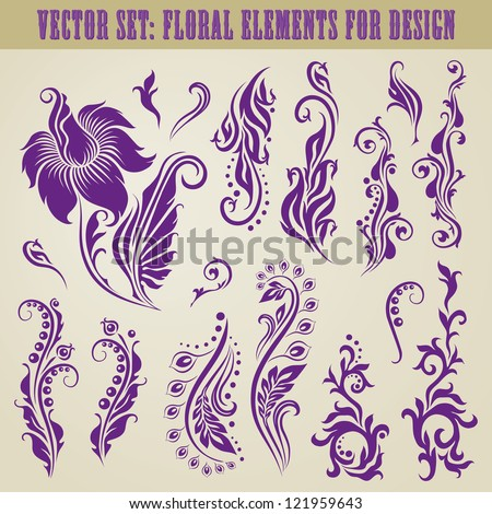Vector set of decorative elements for design. Floral vintage collection.