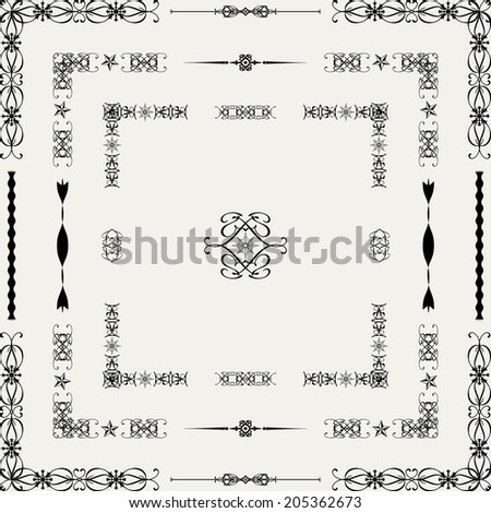 Vector set of decorative floral elements, corners, borders, frame. Page decoration.