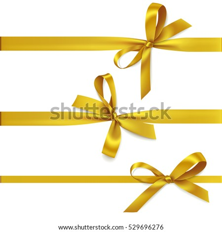 Vector set of decorative golden bows with horizontal ribbon isolated on white. Yellow bow for gift decor #529696276