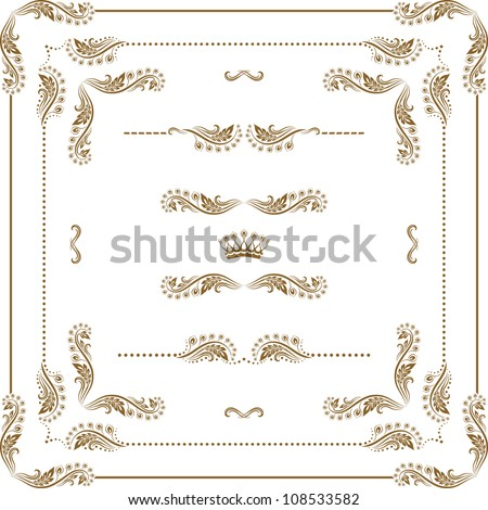 Vector set of decorative horizontal elements border and frame Page decoration.