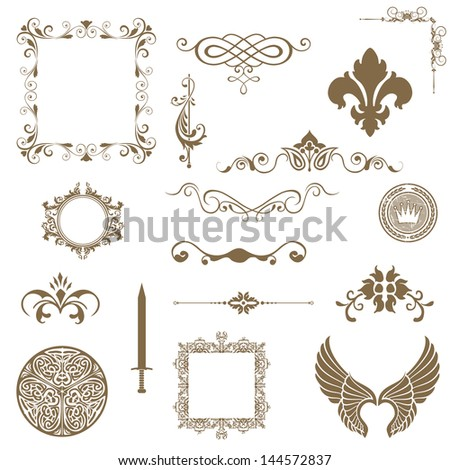 Vector set of decorative horizontal floral elements
