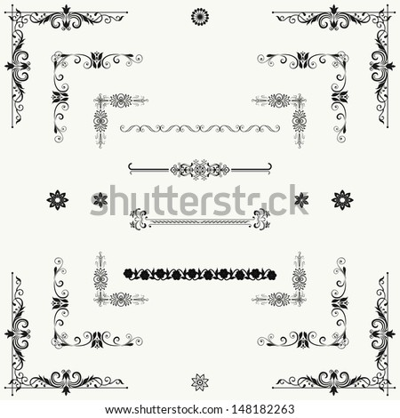 Vector set of decorative horizontal floral elements corners borders frame crown Page decoration