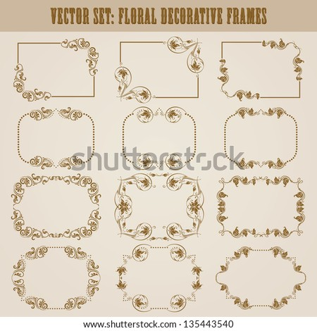 Vector set of decorative ornate frame with floral elements for invitations Page decoration