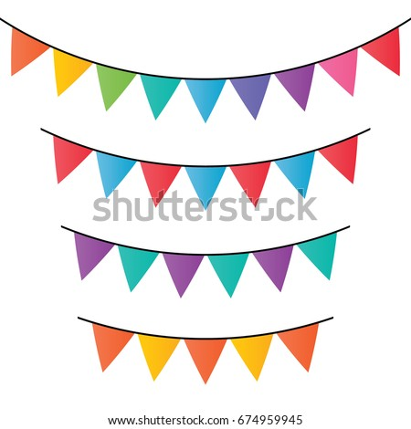 Vector set of decorative party pennants with different sizes and lengths. Celebrate flags. Rainbow garland. Birthday decoration. Hanging colored flags.