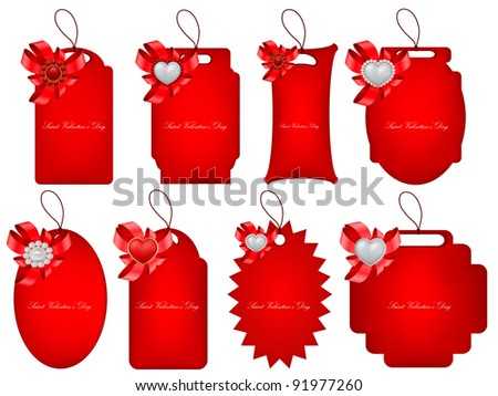 vector set of decorative Saint Valentine's tags with hearts