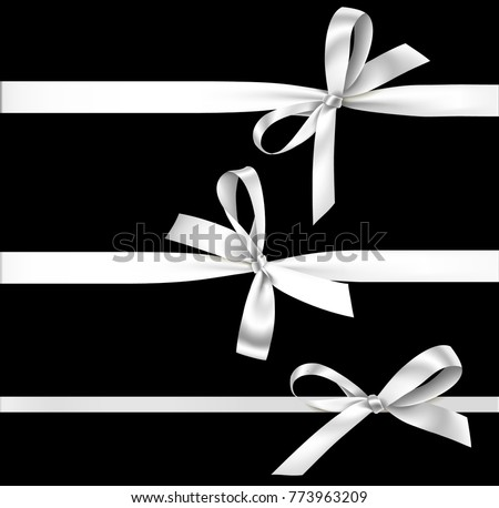 Vector set of decorative silver bows with horizontal ribbon isolated on black. White bow and ribbon for gift decor