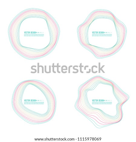 Vector set of deformed colorful circle banners. The text box with a distorted outline.