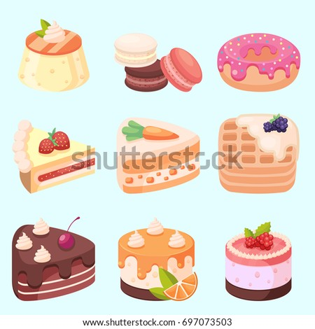 Vector - Set of delicious sweets and desserts cartoon icons eps10
