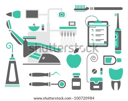 Vector set of dentist icons and teeth care