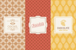 Vector set of design elements and seamless pattern for chocolate and cocoa packaging - labels and background in trendy  linear style