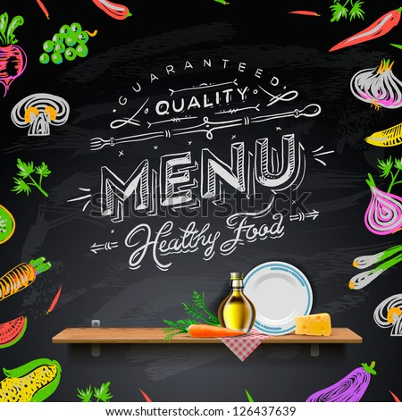 Vector set of design elements for the menu on the chalkboard.