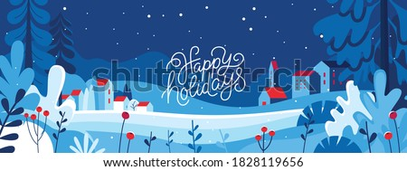 Vector set of design elements - Happy New year and Merry Christmas hand-lettering phrases for greeting cards, banners and prints ストックフォト ©