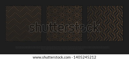 Vector set of design elements, labels and frames for packaging for luxury products in trendy linear style. ストックフォト ©