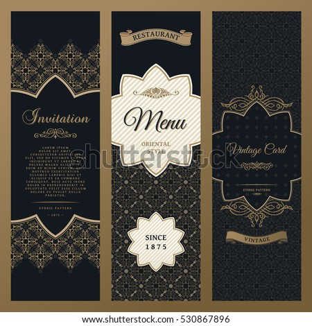 Vector set of design elements labels, icon, logo, frame, luxury packaging for the product. Vertical gold cards on a black background. Templates vintage postcards with foil
