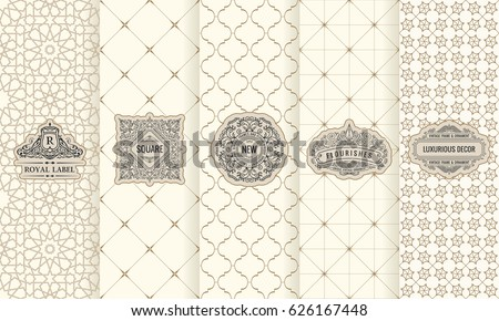 Vector set of design elements labels, icon, logo, frame, luxury packaging for the product. Vertical black cards on a white background. Templates vintage ornament