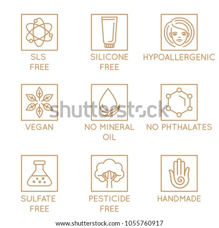 Vector set of design elements, logo design template, icons and badges for natural and organic cosmetics in trendy linear style - sls, silicone and sulfate free, no mineral oil, hypoallergenic, vegan
