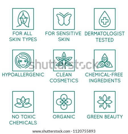 Vector set of design elements, logo design template, icons and badges for natural and organic cosmetics in trendy linear style - for all skin types, dermatologist tested, hypoallergenic, no chemicals