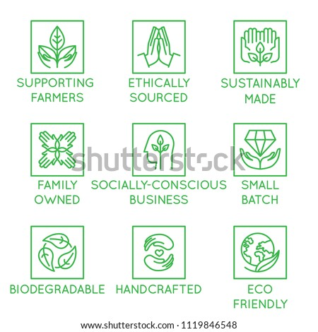 Vector set of design elements, logo design template, icons and badges for natural organic cosmetics and sustainably made products in linear style - supporting farmers, socially-conscious business