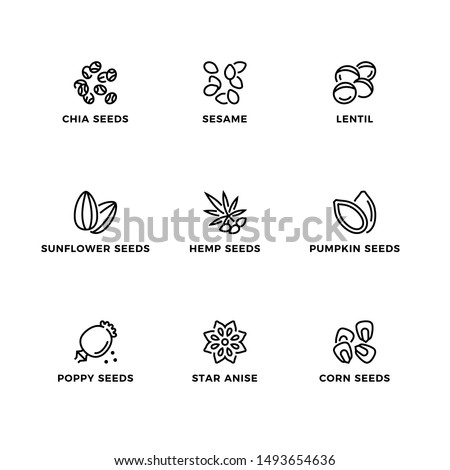 Vector set of design elements, logo design template, icons and badges for seeds. Line icon set, editable stroke.
