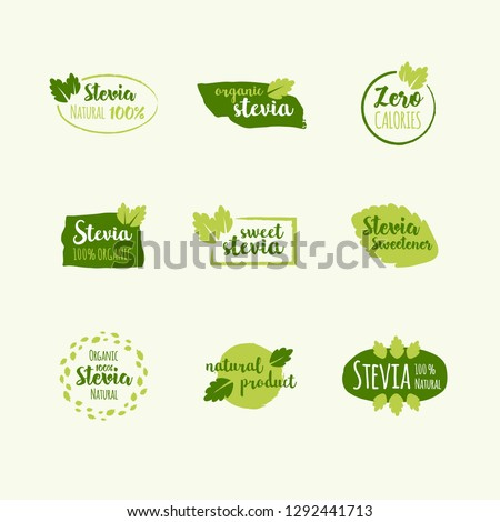 Vector set of design elements, logo design template, icons and badges with sweetener stevia. Labels vector set.