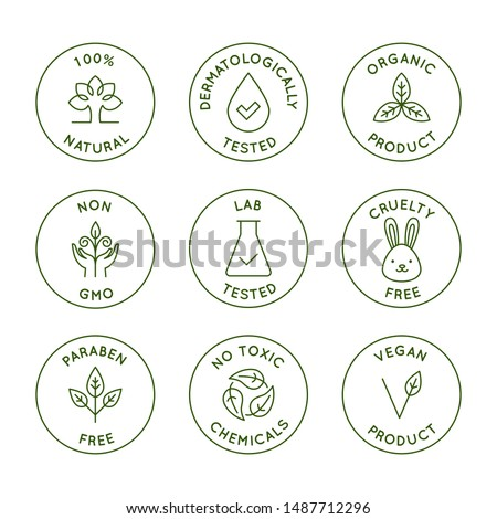 Vector set of design elements, logo design templates, icons and badges for natural and organic cosmetics packaging in trendy linear style - 100% natural, dermatologically and lab tested, vegan and cru Stock fotó ©