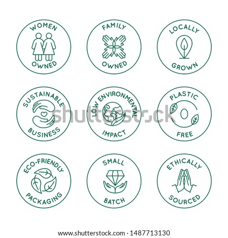 Vector set of design elements, logo design templates, icons and badges for natural and organic cosmetics and sustainably made products in trendy linear style - family or women owned business with low  Foto d'archivio ©