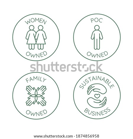 Vector set of design elements, logo design templates, icons and badges for sustainably made products in trendy linear style - family , women or people of color owned business with low environmental im