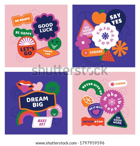Vector set of design elements, patches and stickers with inspirational phrases - abstract elements for branding, packaging, prints and social media posts