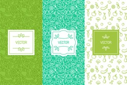 Vector set of design elements, seamless patterns and backgrounds for organic, healthy and vegan food packaging - green labels and emblems for vegetarian products, shops and websites with copy space