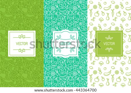 Vector set of design elements, seamless patterns and backgrounds for organic, healthy and vegan food packaging - green labels and emblems for vegetarian products, shops and websites with copy space #443364700