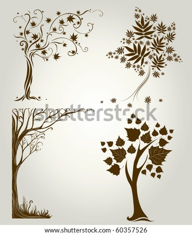 Vector set 3 of designs with decorative tree from leafs. Thanksgiving