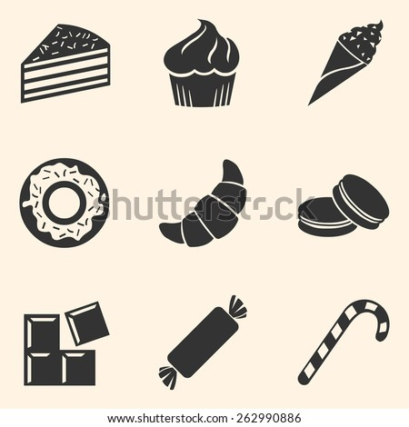 Vector Set of Dessert Icons. Sweet-Stuff. Confection. Cake, Brownie, Ice Cream, Doughnut, Croissant, Macaroni, Chocolate, Candy, Candy Cane.