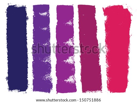 Vector set of detailed grunge paint roller strokes