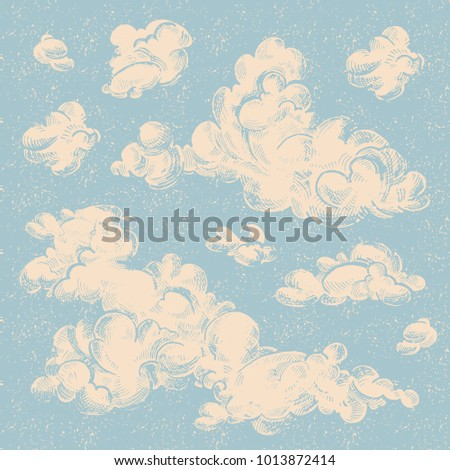 Vector set of detailed hand drawn vintage engraved clouds. Ink illustration. Overcast, abstract sky, cloud sketch decorative retro background.
