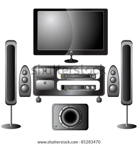 Vector set of detailed home theater icons