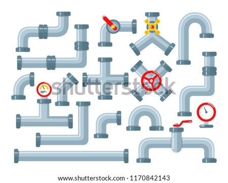 Vector set of details ware pipes system in flat style. Collection of water tube, plastic pipeline, filtres, gas valve, fittings, plumbing, faucet, sewage. Construction and industrial technology.